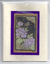 Card Blank Handmade Japanese Purple Flower