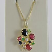 18K YELLOW GOLD FLOWER NECKLACE DIAMOND SAPPHIRE RUBY EMERALD MADE IN ITALY