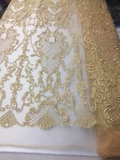 Lace Fabric - Flower Mesh Dress Gold For Embroidery Bridal Veil By The yard