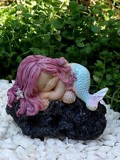 Miniature Figurine FAIRY GARDEN ~ Sleeping Little Mermaid on Rock ~ NEW