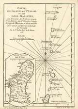 1752 Bellin Map of Mariana Island (Guam and Tinian)
