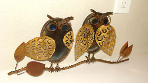 Signed C. Jere Metal Owls Enamel Eyes on a Branch Mid Century MCM
