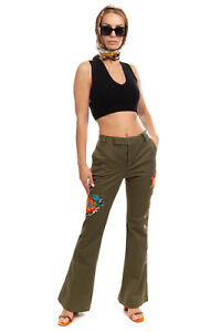 RRP€140 HISTORY REPEATS Trousers Size IT 44 M Stretch Garment Dye Flower Patches