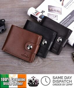 Classical Style Men's Wallet Bifold Card Holder with Snap Button Multi Position