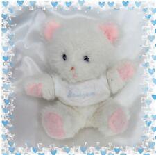 Doudou Peluche Ours Assis Blanc Rose T-shirt baby ours Vintage Yeux Bleu Boulgom