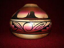 Signed Navajo Pottery Utah Scenery Blackhorse Chimney Vase / Grain Pot