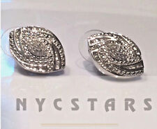 1/2 Ct  Platinum White Diamond Earrings, Sterling Silver .925