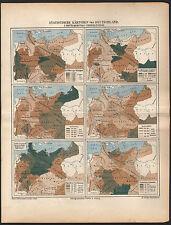 Statistische historische Karte 1879 Bevölkerung Geburten Todesfälle  Map