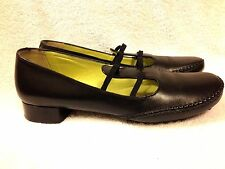 Florence Girardier women's black leather slip on shoes size 37 Nice!! Italy