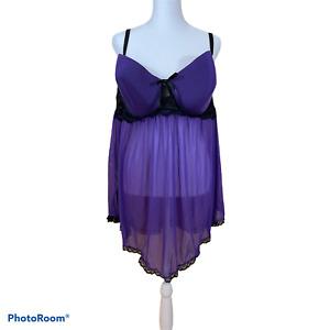 NWOT Cacique 2 Pc Purple/Black Lace Babydoll Chemise w/ G-String Panty Sz 22/24