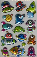 Pop up planets and aliens foil 15 laser stickers.