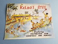 1968 Vintage Kelbo's Bar-B-Q Drink Menu Los Angeles Hawaiian Tiki / Reproduction