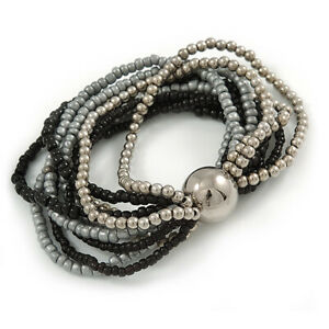 Multistrand Glass and Plastic Bead Flex Bracelet with a Ball (Black/ Grey/