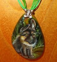 Pendant German Shepherd Russian Hand painted Stone PUPPY DOG signed Gorbachova
