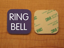 Engraved 3x3 RING BELL Plastic Tag Sign Plate   Purple Doorbell Plate Plaque