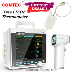 Capnograph Patient Monitor ETCO2 Vital Signs Monitor 6 Parameters, 1 Thermometer