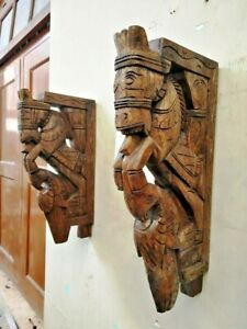Horse Sculpture Wall Corbel Pair Bracket Wooden Peacock Statue Wall Shelf Decor