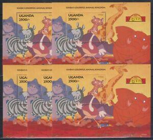 O453. 5x Uganda - MNH - Animation - Disney - The Lion King - Bl.