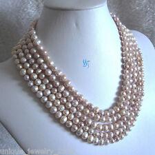 "100"" 6-8mm Light Lavender Freshwater Pearl Necklace Natural Color"