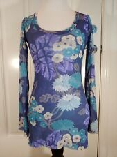 Sweet Pea By Stacy Frati Mesh Floral Top Size M
