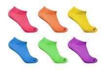 6 Pairs Women's Low Cut No Show Ankle Socks White Black Neon Wholesale lot 9-11