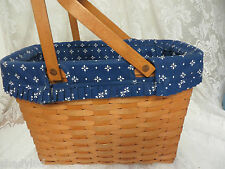 LONGABERGER BASKET Picnic Market Woven Liner with Pockets Signed 21235 PSE