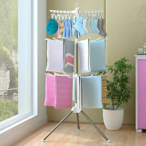 3 Tiers Clothes Horse Airer Laundry Rack In/Outdoor Washing Drying Dryer Stand