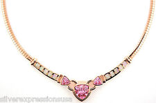 18K Gold Plated 925 Sterling Silver, Pink Fire Opal & Topaz Omega Necklace 18""