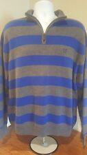 Mens Sweater Pullover Chaps  Grey/Blue Stripe Long Sleeve 1/4 Zipper Size XL/TG