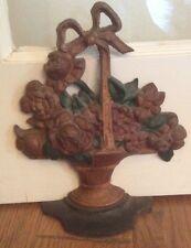 Antique Original Paint Hubley #29 Cast Iron Basket of Flowers Door Stop
