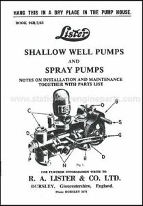 Lister Shallow Well Pumps & Spray Pumps Book Lister Water Pump Sales Booklet