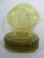 Madrid Lunch Plates Federal Depression Glass Amber Square Vintage Set of 8