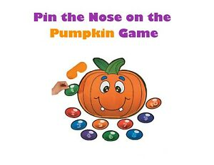 Pin Nose on the Pumpkin Game, Halloween Party Classroom Activity Trick or Treat