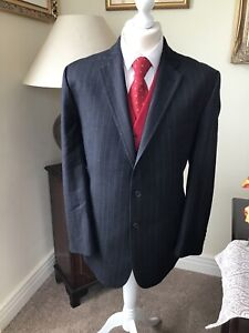 Chester- Chester Barrie Grey Pin Striped Super Wool 100's REDA Jacket 46/117 VGC