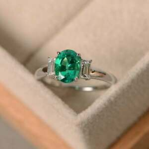 2.70 Ct Natural Emerald Diamond Engagement Ring 14K Real White Gold Size 5 6 7