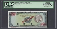 Guatemala 100 Quetzales ND1965-70 P57s Specimen TDLR Uncirculated