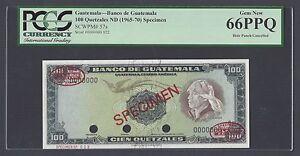 Guatemala 100 Quetzales ND(1965-70) P57s Specimen TDLR Uncirculated Grade 66