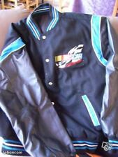 NASCAR Racing reversible jacket Wool/Leather sleeves Embroidered logo
