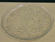 """Vintage PASARI INDONESIA 9"""" Clear Glass Rose Pattern Serving Tray Plate"""