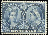 1897 Mint NH Canada F Scott #54 5c Diamond Jubilee Stamp