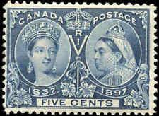 1897 Mint NH Canada F Scott #54 5c Diamond Jubilee Stamp
