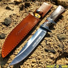 """Black + Brown 12"""" COMBAT TACTICAL Hunt Down Fixed Blade Knife Survival Hunting"""