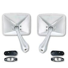 70-72 Chevy Truck Rectangle Chrome Outside Rear View RH & LH Door Mirror Pair