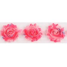 1 Yard Pink Floral Chiffon Shabby Rose Flowers Lace Trims Headband Wedding Dress