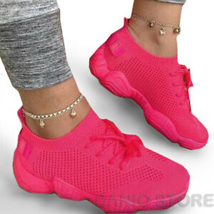WOMENS Girls SNEAKERS Breathable MESH RUNNING WALKING CASUAL Iridescent SHOES