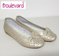 SALE - Ladies Gold Leather Perforated Bow Slip On Ballerina Pumps Shoes - Size 6