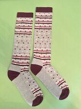 Woolrich Knee High Socks Women Medium M 6 1/2-10 Soft Gray Grey Merino Wool NWT