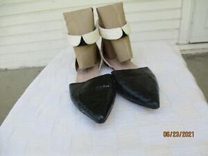 Loeffler Randall Black & White Genuine Snake Skin Ankle Collar Flats Size 9.5 B