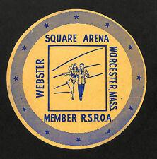 """Worcester MA Webster Square Arena Rink Skating Sticker Luggage Label 5.25"""""""