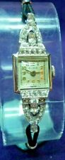 RIMA 17 Jewel Swiss~White Gold FIlled with Rhinestones Womens Cocktail Watch